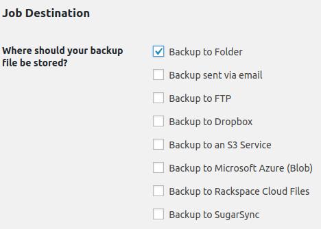 set where backup will be storaged