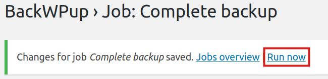backup complete message