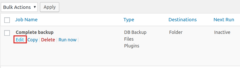 schedule backup in backwpup