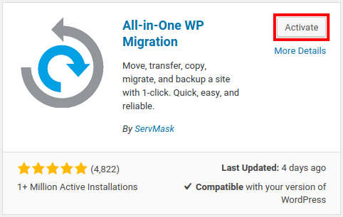 install all-in-one wp migration
