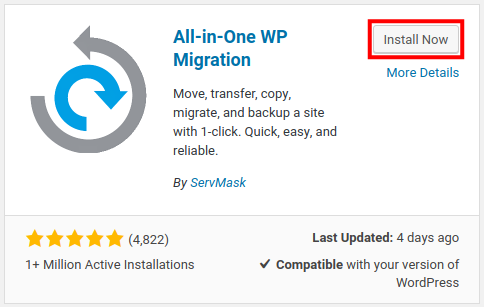 activate all-in-one wp migration
