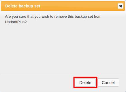 confirm deleting a backup in updraft plus