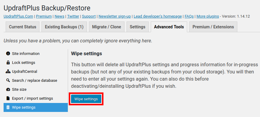 use updraftplus to wipe backup settings