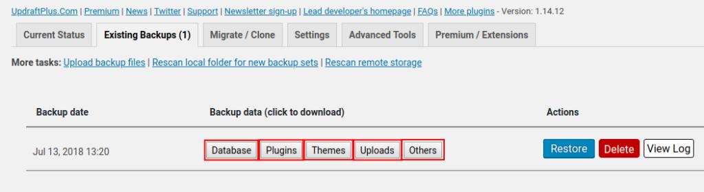 download backup options