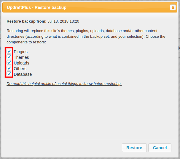choosing elements to restore in wordpress