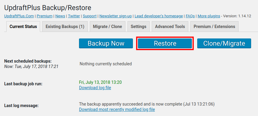 restore wordpress site with backup