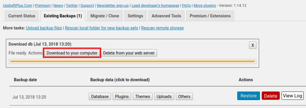 download existing backup updraftplus