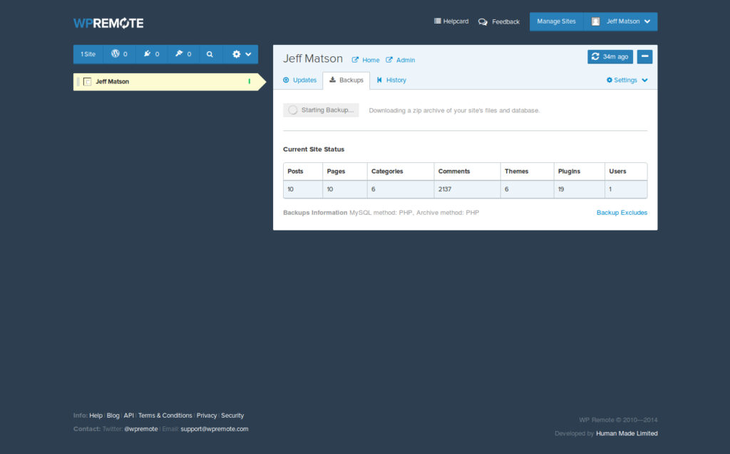 download wordpress backup from wp remote