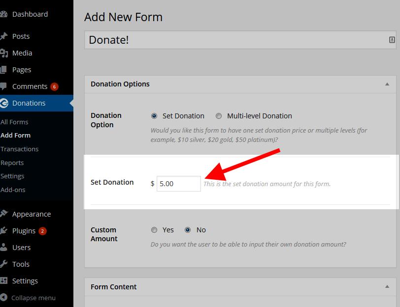 Add form donation price