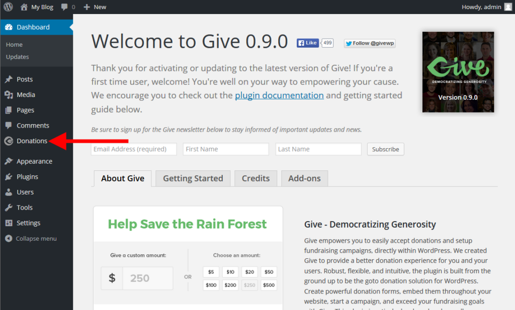 activate give plugin