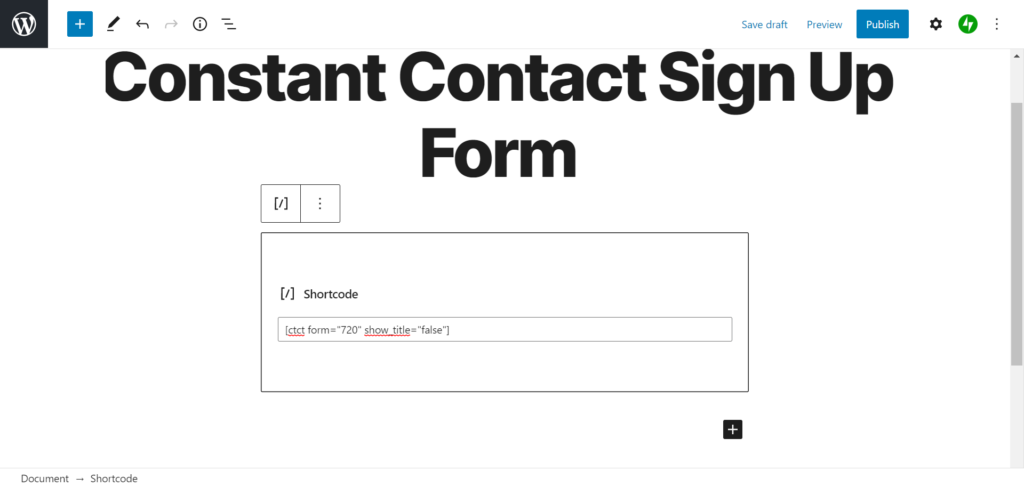 add constant contact form to wordpress