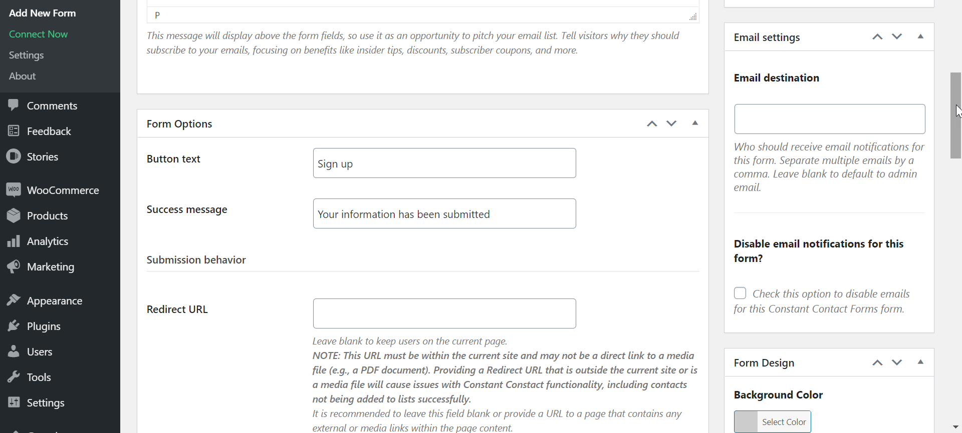 create constant contact form