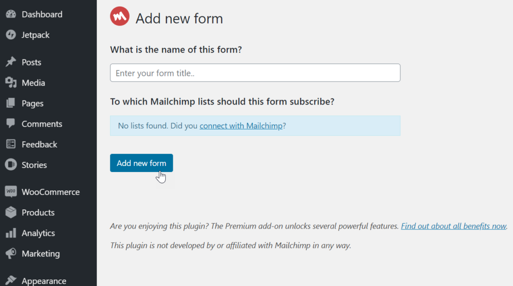 create a mailchimp sign up form in wordpress