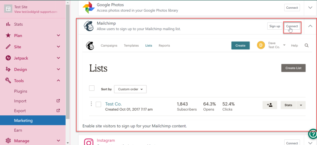 connecting mailchimp from wordpress.com