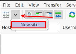 Connect to new site in FileZilla SFTP Ubuntu