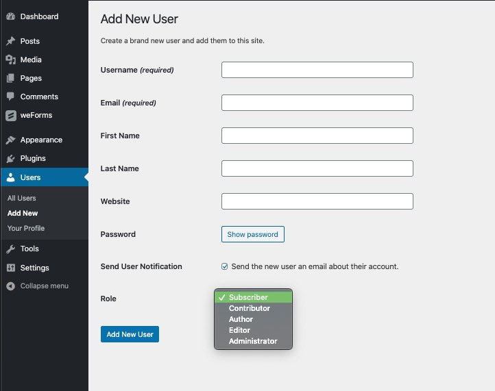 add a new user role in WordPress