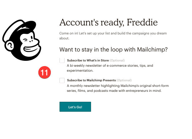 account set up complete in mailchimp