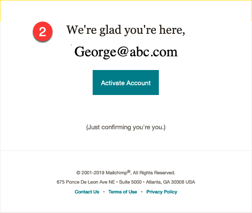 adding email for mailchimp account