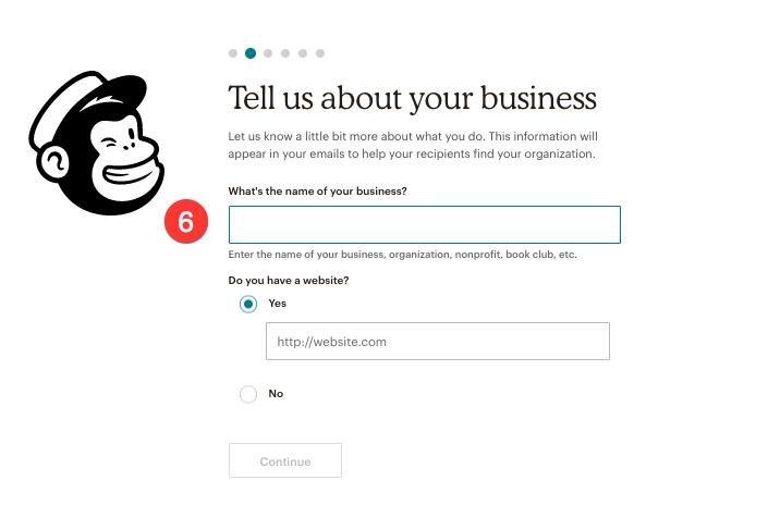 add business information for mailschimp account