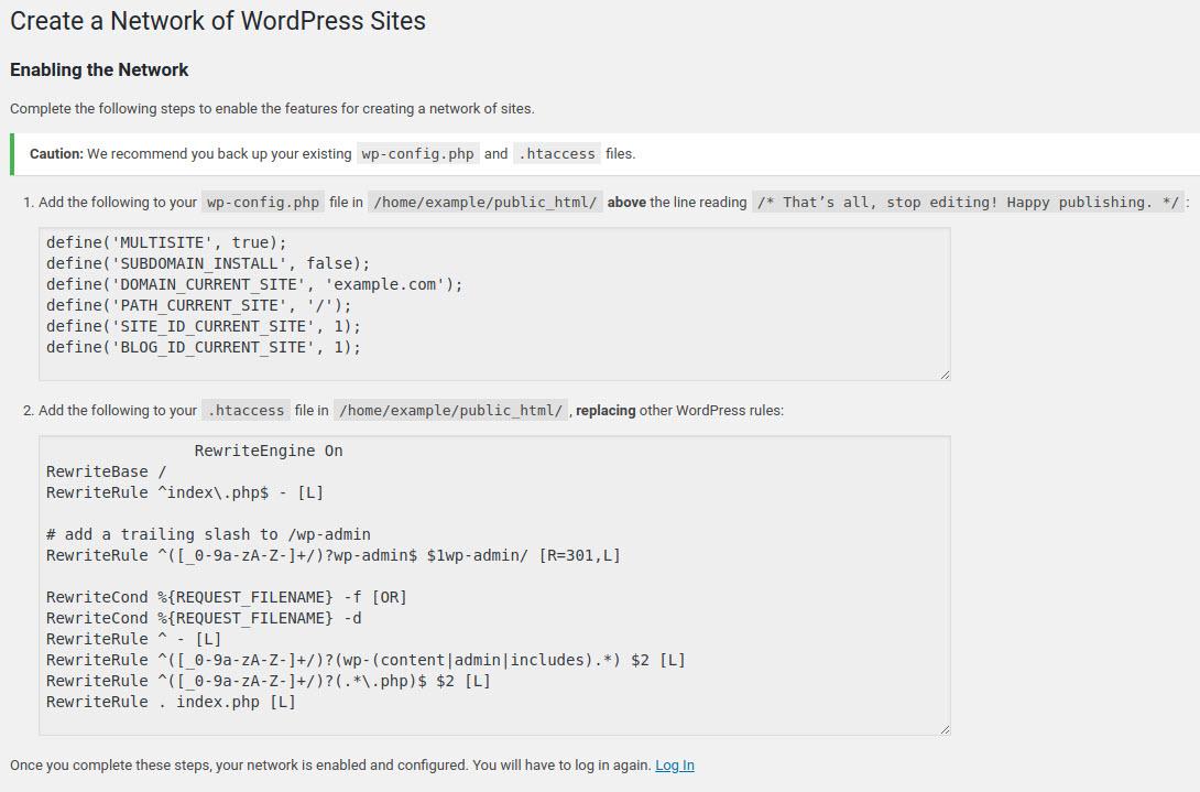 enabling wordpress network