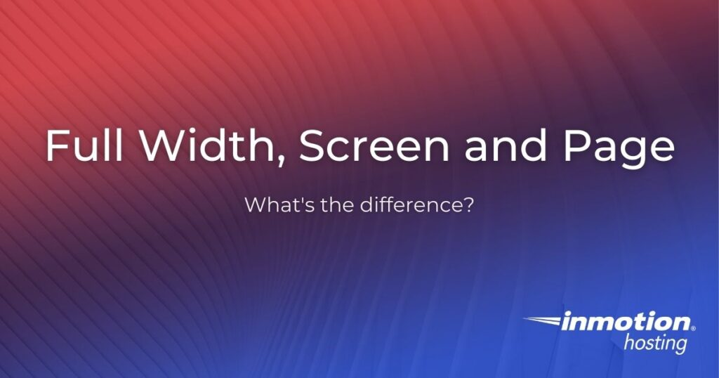 full width screen and page