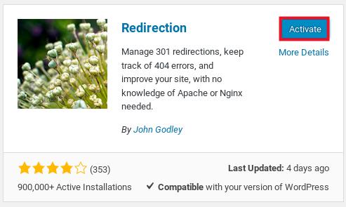 install redirection plugin