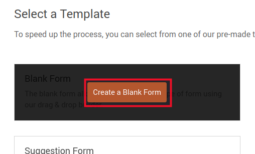 choose the blank form template