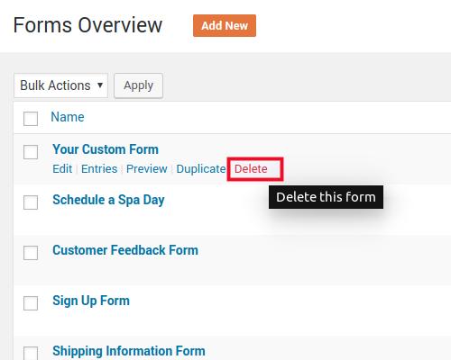 delete contact form