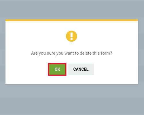 confirm deletion of contact form