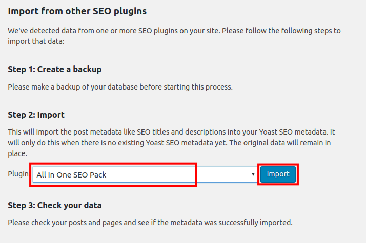 import settings from another seo plugin