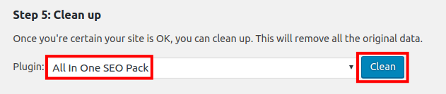 clean settings from another seo plugin