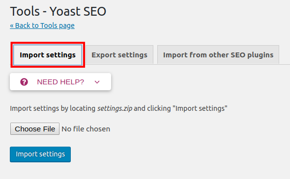 import yoast settings