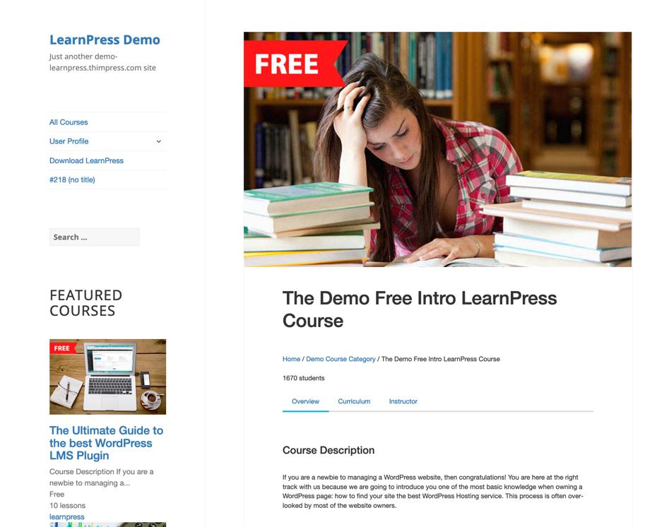 LearnPress course screenshot
