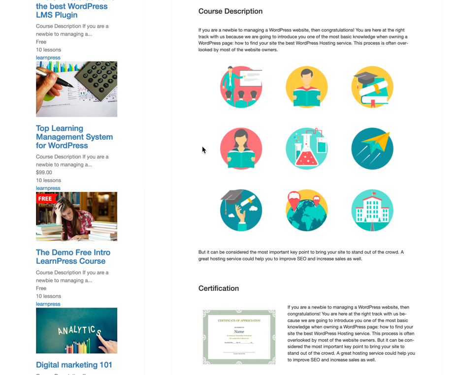 Bottom half of LearnPress course screenshot