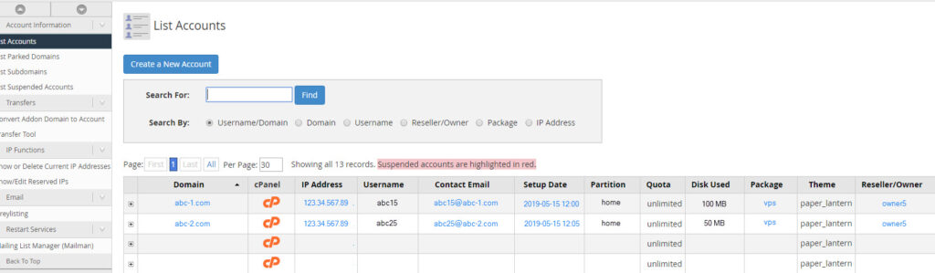 How to Get a List of Accounts in your VPS
