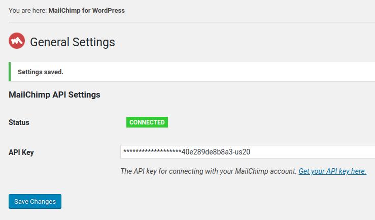 confirm mailchimp and wordpress integration
