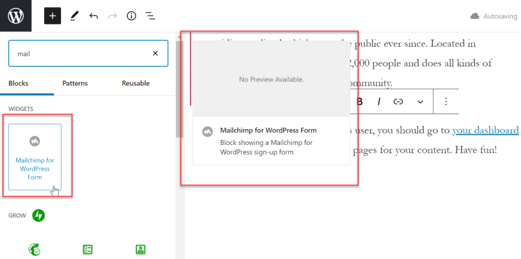 add mailchimp signup form to wordpress page or post