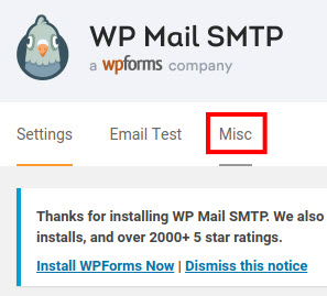 wp mail smtp misc settings