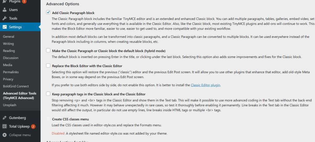advanced editor tool addition  options