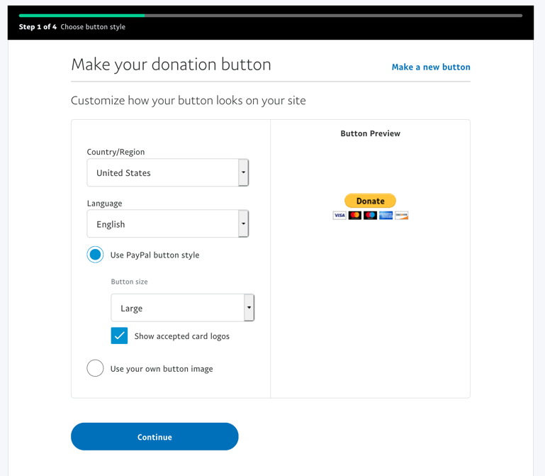 create paypal donate button