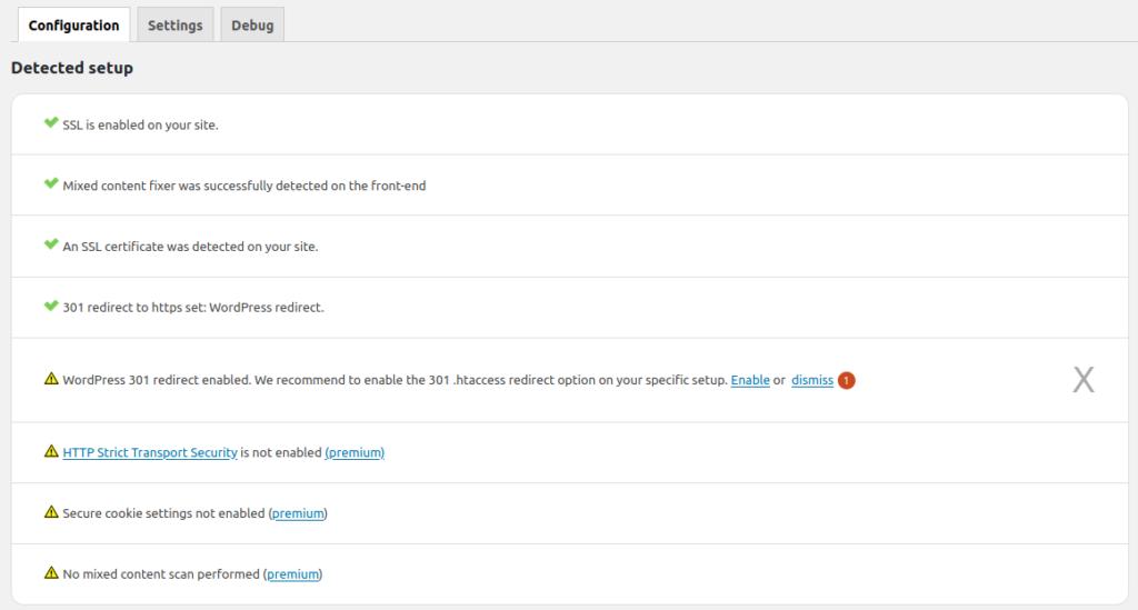 Really Simple SSL plugin configuration options