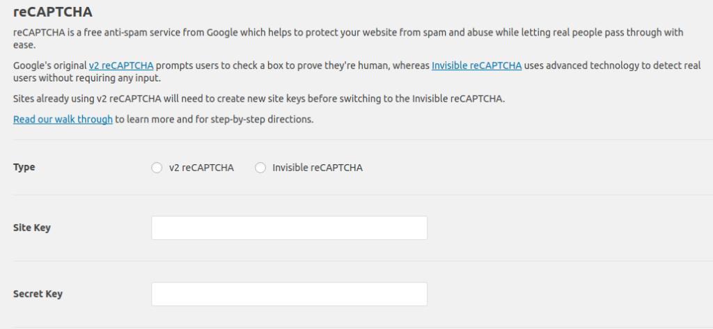 adding recaptcha settings