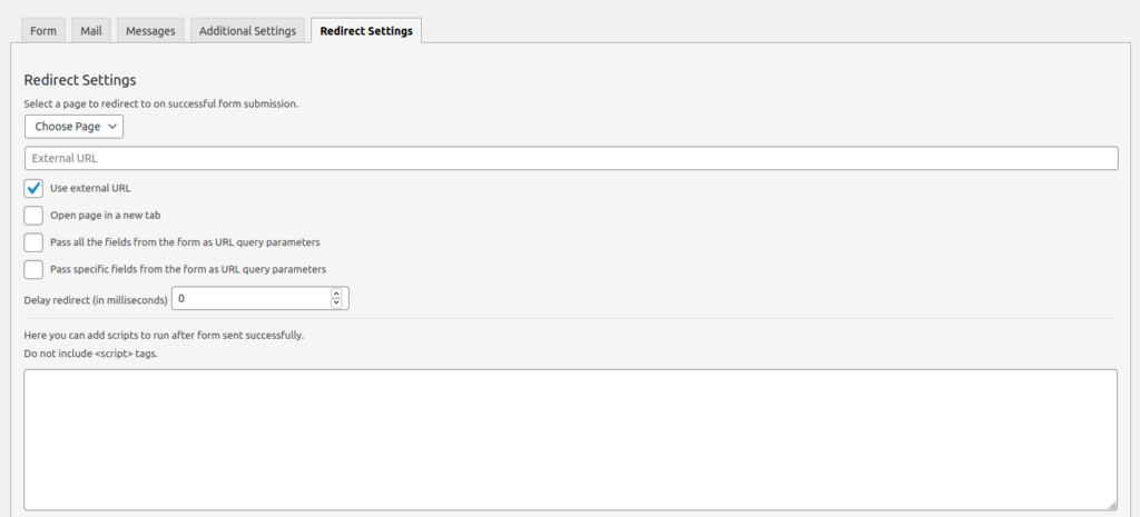 Redirection for Contact Form 7 settings