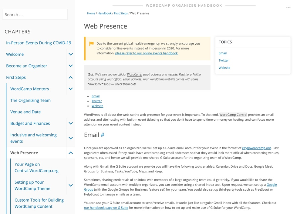 Web Presence site on WordPress.org