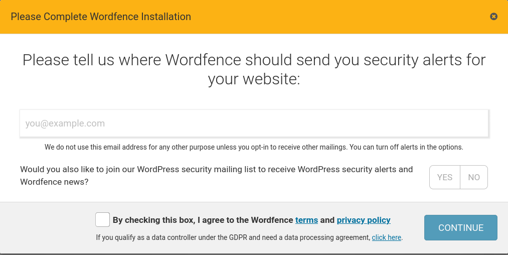 Wordfence notifications