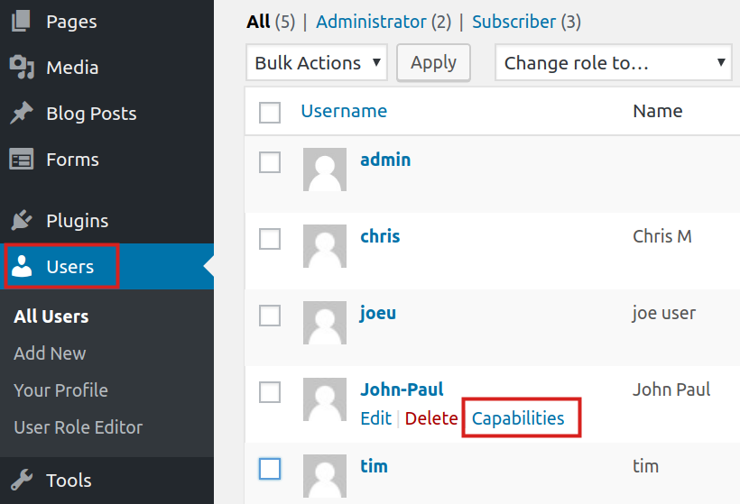 updating user role for user