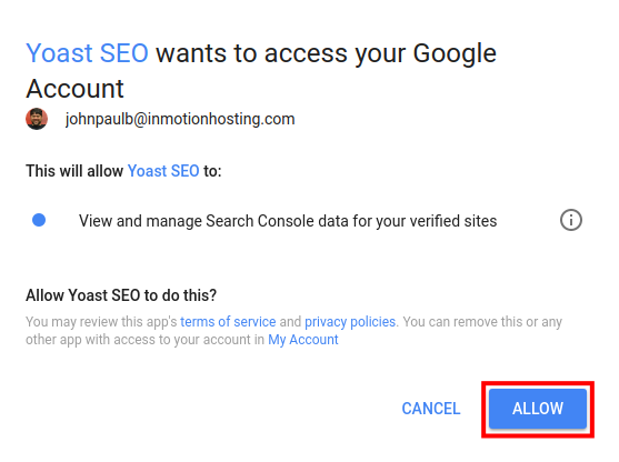 allow google to link with yoast