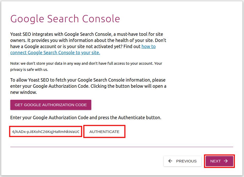 paste google key