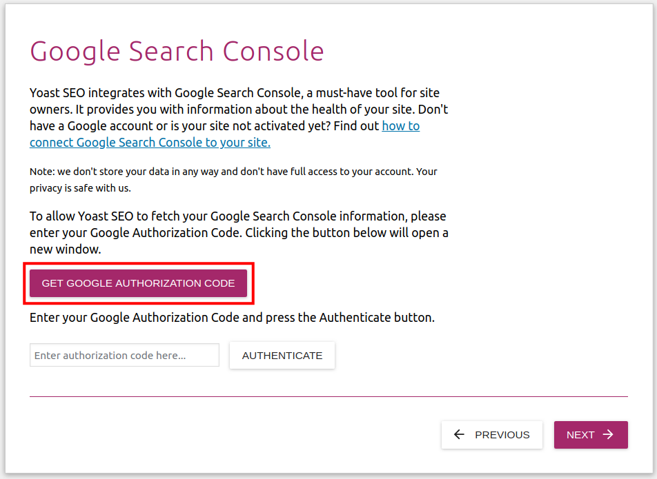 link google search console