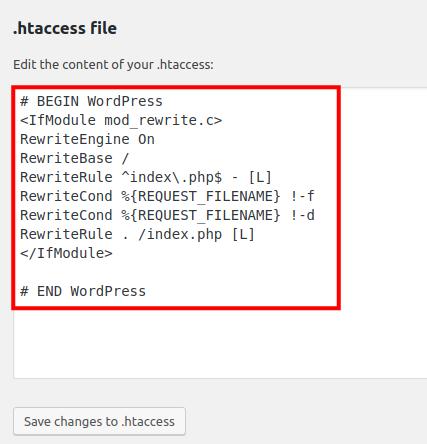 edit htaccess file